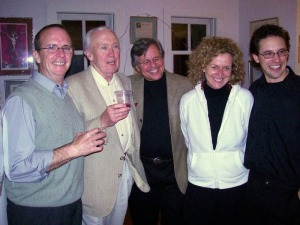 The opening night party at Vincent's home, with Vincent himself second from left.