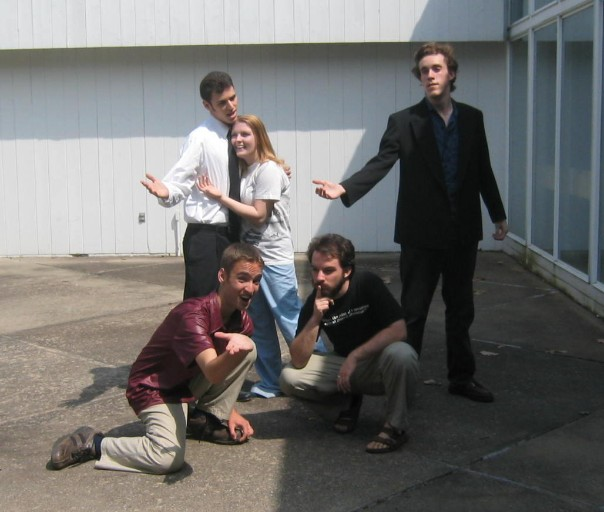Richard Foreman performance: featuring actors myself, Russ, Abby and Nate, with our director Shawn looking pensive.