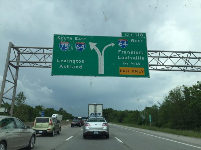 Road scene captured during Lexington, Kentucky area rush hour.